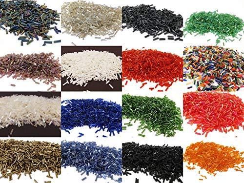Rocailles Perlen STIFTPERLEN Glas 2mm x 6mm 15 Farben 300g Mix Set POSTEN ca 9900 STK AM61