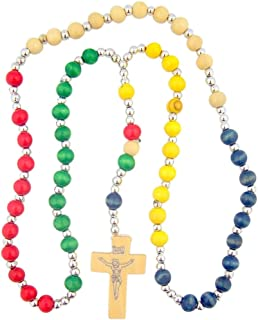 CB Multi Color 6MM Wooden Prayer Bead 15 Inch Rainbow Mission Rosary
