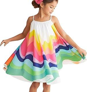 MCYs Mädchen Sommer Kleinkind Baby Mädchen Ärmellos Regenbogen Print Kleid Weste Kleider Kleidung