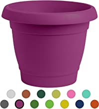 ALMI Carmel Round Planter 9 Inch, Plastic Rounded Pot For Garden, Elegant Shaped Flower Tree, Tapered Planters For Plants, Small Trees, UV Resistant Paint, Indoor & Outdoor, Purple