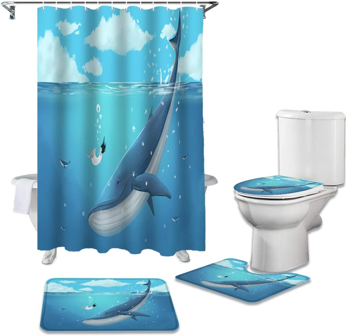 Branded goods Sea Japan Maker New Animals 4 Pcs Bathroom Sets Shower with Curtain Rug Non-Slip