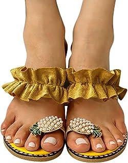 HWGOOD Sandalias para mujer, redondas, bohemias, para el tiempo libre, para el verano, antideslizantes, para la playa, par...