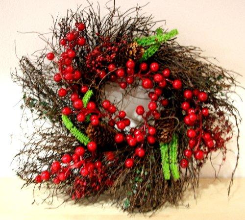 Ghirlanda Rami corteccia e bacche rosse diam.30 cm economica Decorazione da appendere- Natale
