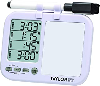 Taylor Precision Products Four-Event Kitchen Timer with Whiteboard (Regular), white