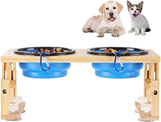 HHXRISE Adjustable Pet Feeder, Bamboo Elevated Dog Cat Bowls Raised Feeding Station with 2 Plastic Foldable Travel Bowls and 4 Anti-Slip Suction Cup Feets