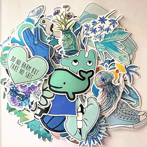 WYDML Fresco y lindo azul playa equipaje coche pegatina skate sin pegamento repetido casco pegajoso impermeable pegatina 100 hojas