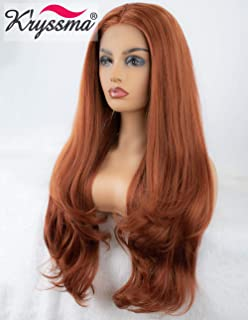 K'ryssma Reddish Blonde Lace Front Wigs Wavy Natural Looking Side Parting Glueless Synthetic Wigs for Women Copper Red Long Wig Heat Resistant 24 inches