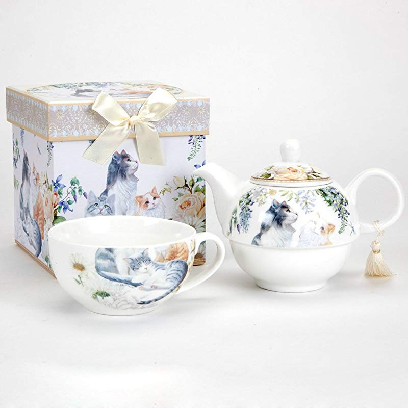 Bits And Pieces Adorable Single Serving Kitty Tea Set Cat Tea Set For One Porcelain Teapot And Cup Combination