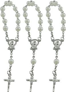 Baptism Favors (24PCS) Mini Rosaries Simulated Pearl Beads with Sivler Plated Accents - Reduerdos Mini rosarios/Recuerditos De Bautismo - First Holy Communion - Wedding