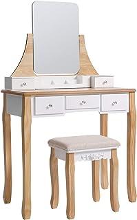 VASAGLE Coiffeuse Moderne, Table de Maquillage, avec Tabouret, Miroir Pivotant 360°, 5 Tiroirs, Organisateurs de Maquillag...