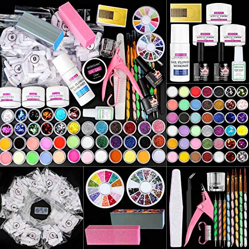 Morovan Acrylic Nail Kit-Acrylic Nail Kit with Everything Acrylic Powder and Liquid Brush Glitter French Tips Nail Art Tool