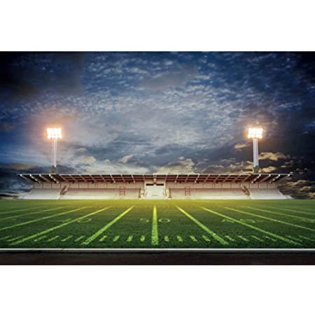 DaShan 14x10ft American Football Super Bowl Backdrop Green Grass Rugby Sports Stadium Photography Background Football Field Yard Lines Touchdown Confetti Birthday Party Cake Table Photo Props