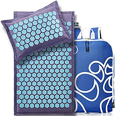 New Version Eco Professional Acupressure Mat and Pillow Set From Organic Linen – Best Acupuncture Mat Gift – Back and Neck Pain Relief Reflexology Mat – for Women and Men - Migraines and Muscle Relief