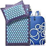 New Version Professional Acupressure Mat and Pillow Set from Organic Linen – Best Acupuncture Mat Gift – Back and Neck Pain Relief Reflexology Mat – for Women and Men - Stress and Muscle Relief Green