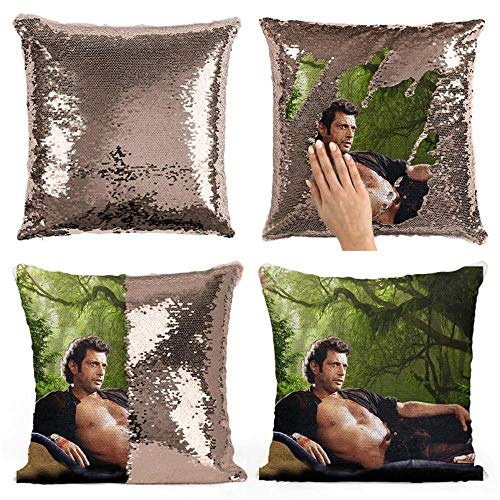 MissJune 16 X 16 Inch Jeff Goldblum Sequins Pillow Reversible Sequins Mermaid Pillow Cases Change Color Decorative Cushion Couch Pillow Cover Throw Pillow Case Cover Mermaid Pillow Case Sequin