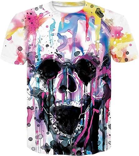 Imzoeyff T-Shirt Unisexe d'été, 3D imprimé à Manches Courtes tête de Mort Impression numérique à Manches Courtes Décontracté Slim Manches Courtes Mode Pour des hommeswear