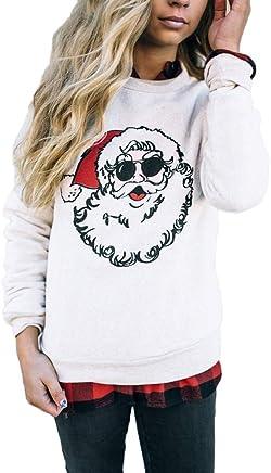 Lovewe Christmas Cool Santa Claus Blouse,Xams Women Santa Claus O Neck Tops Long Sleeve