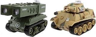 JUGUETRÓNICA- Micro Tanks Game, Pack de 2 Tanques radiocontrol Mod C+D, Color Verde y marrón (JUG0138)
