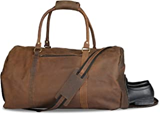 Leather Duffel Bag - Soft Leather Gym Bag Large Travel Duffle Luggage Holder with Shoes Compartment Buff Leather Bags - 20x11 Inch