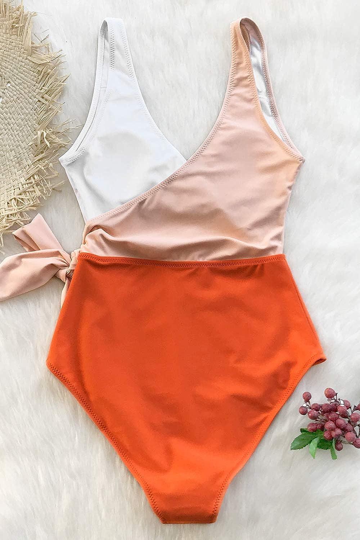 CUPSHE Women's Orange White Bowknot One Piece Swimsuit(XS) White Crochet Tunic V Neck Cover Up