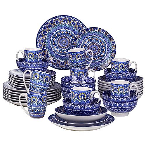 vancasso Vajilla de Porcelana serie Mandala Juego de Vajillas de 40 pcs-8 Tazas, Cuencos, Platos Planos, Platos de Postre y Platos Hondos para 8 Personas Azul