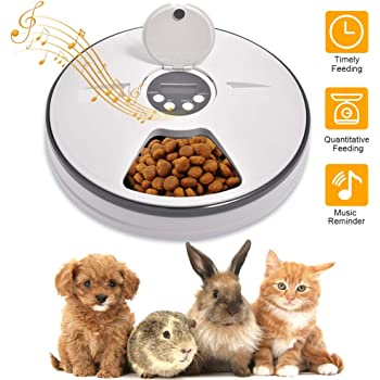 Lacyie Automatic Cat Feeder with Digital Timer, Automatic Pet Feeder Animals Food Dispenser with 6 Meals Suitable Wet & Dry Food for Cats, Dogs, Rabbits,Hamster and Other Pets