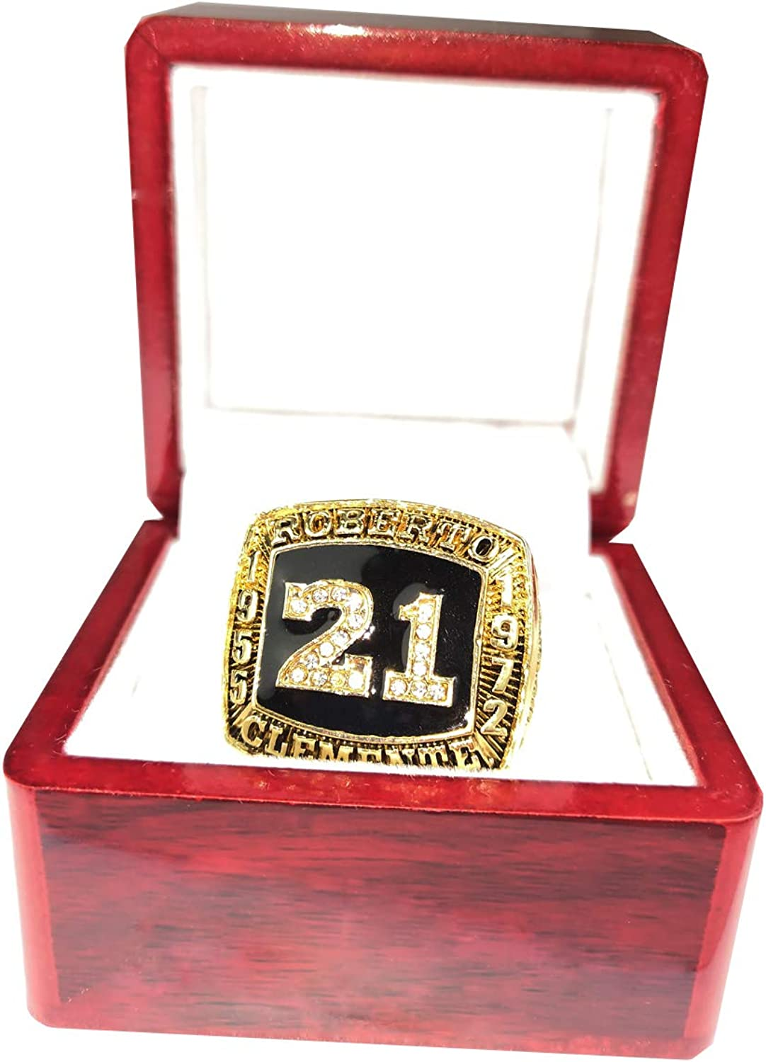 RongJ store Robert Clemente 1955 to 1972 Basketball Championship Ring Cherrywood Display case