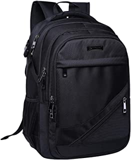 Xnuoyo 17 3inch Travel Laptop Backpack  Unisex Business Rucksack with USB Charging Port Headphone Hole  Water Resistant College School Computer Bag for Women Men  Black