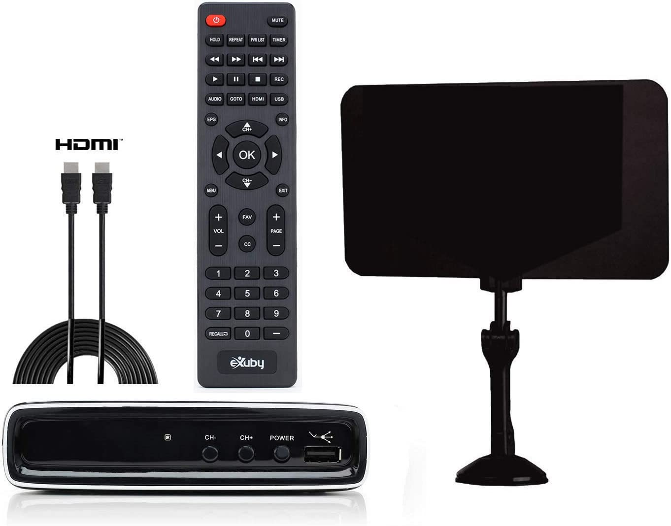 Televisions & Video Exuby Digital Converter Box with Flat Antenna ...