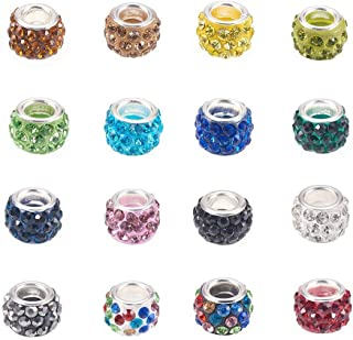 Craftdady 100Pcs Random Mixed Color Polymer Clay Large Hole European Beads with Rhinestone 11-12x7-7.5m Rondelle Slide Bead Spacers for DIY Snake Chain Charm Bracelet Making with 5mm Big Hole