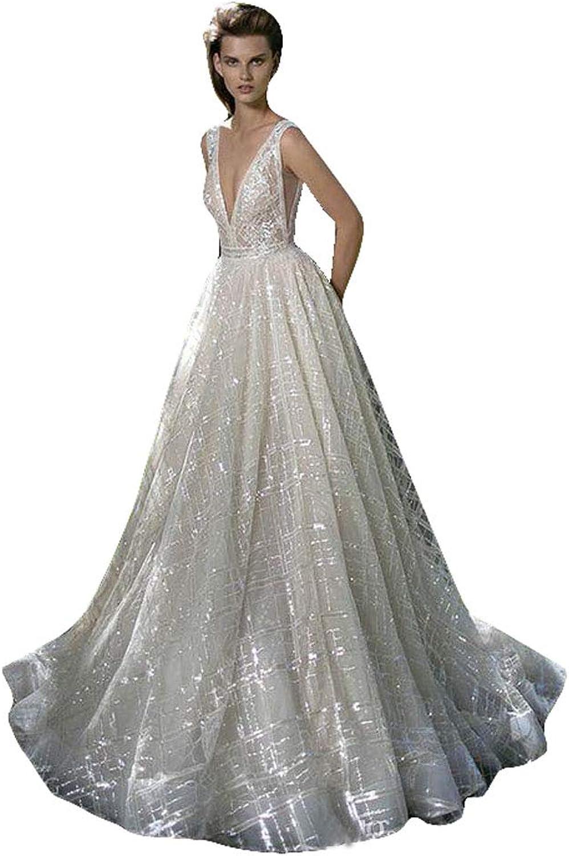 Fenghuavip Shiny Sequins Wedding Dress Deep V Neck Backless Bridal Gowns Floor Length