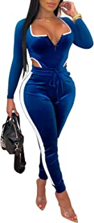 Women's Velvet Jumpsuits One Piece Sexy Clubwear Long Sleeve Bodycon Catsuits