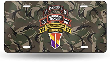 NCJEI NONGE Company C (Airborne Ranger), 75th Infantry License Plate Frames for Car Decoration 6 Inch X 12 Inch