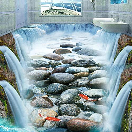 Cascada Piedras Peces Papel tapiz de piso 3D PVC Autoadhesivo Impermeable 3D Pisos Etiqueta de baldosas Sala de estar Decoración de baño Mural-300 * 210cm