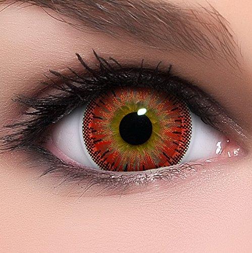 Circle Lenses rote Dolly Red ohne Stärke + Behälter I 15mm I weich I 3 Monate anwendbar