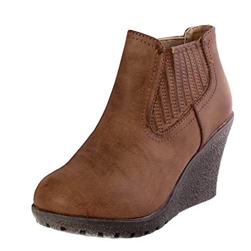 a672f5852fb Brown Leather Wedge Boots: Amazon.co.uk