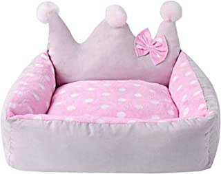 Colorful-World Dog Bed Crown Shape with Bow Winter Dog Nest Camas para Cute Fashion Teddy Dog Small Pet Bed 504525 cm,Pink,50 45 25 cm