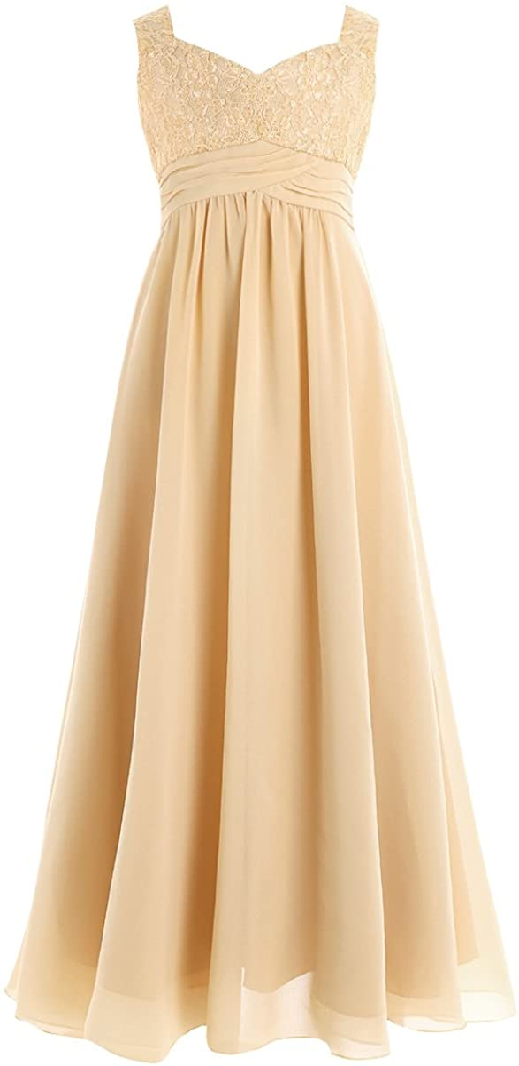ranrann Kids Flower Girls Dress Princess Chiffon Floral Lace Long Maxi Skirt Wedding Bridesmaid Formal Event