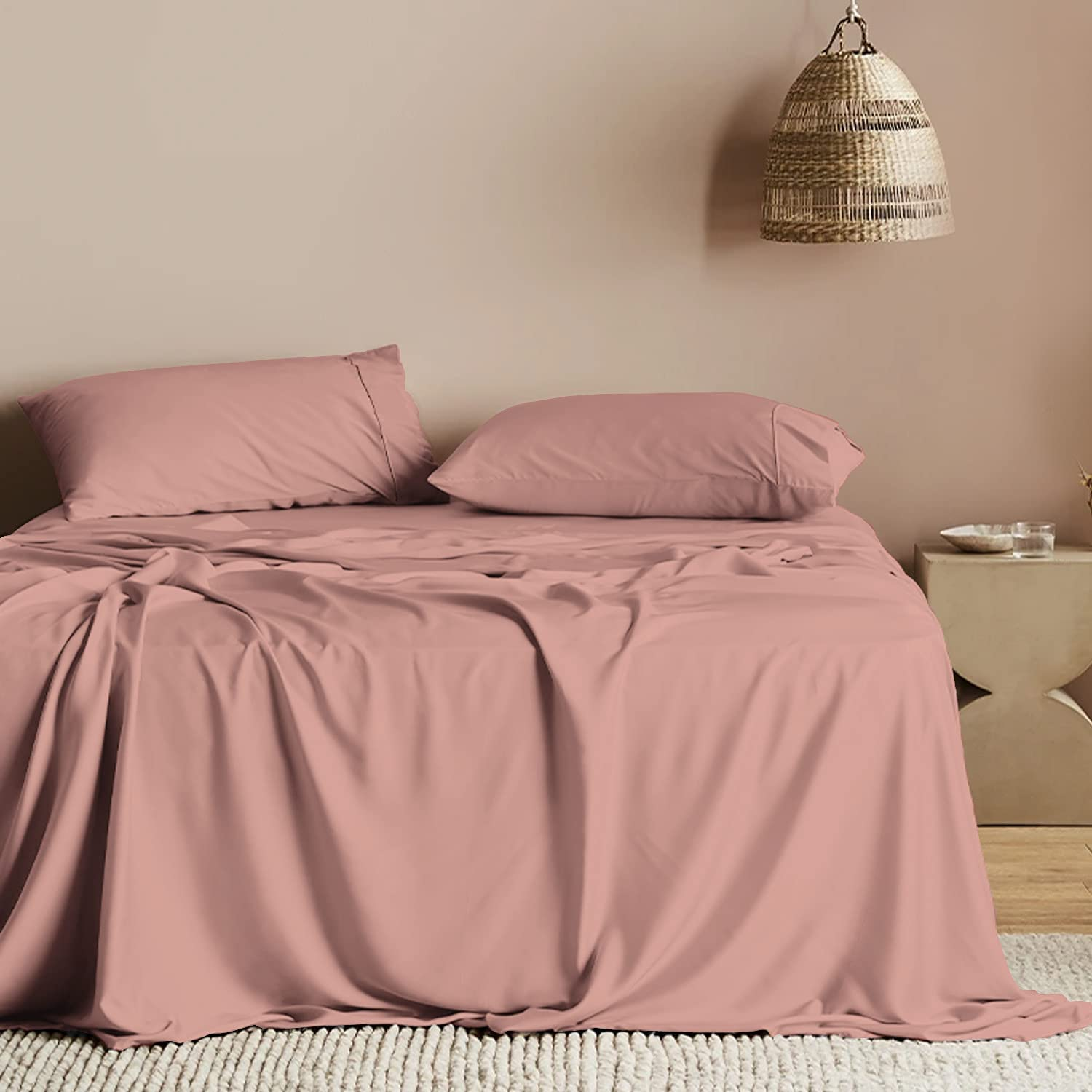 Soft Seasonal Wrap Introduction 600 Thread Count Cotton Queen 100% Lo Rose Flat Sheets Super Special SALE held 1pc