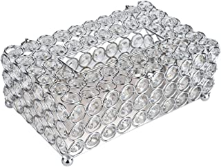 """Anferstore Crystal Tissue Box Cover Rectangular-Decorative Tissue Box Cover Tissue Holder-Crystal Napkins Container-for Elegant Décor(7.87"""" x 4.6"""" x 3.75"""") (Silver, Round)"""