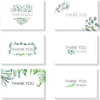 48 Count Foliage Thank You Cards Bulk Floral Greeting Cards 6x4 Note Cards Blank Inside with Envelopes for Thanksgiving Mothers Day Graduation Wedding Bridal Shower Anniversary Wife Mom