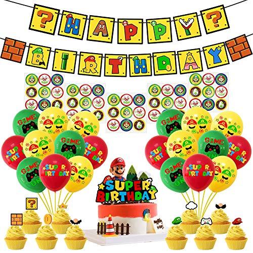 Osugin Super Mario Kit de décoration de fête d'anniversaire Super Mario avec bannière Happy Birthday et ballons en latex pour kit de décoration Mario
