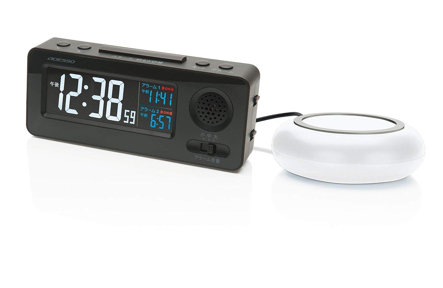 横向きしたがってりADESSO(アデッソ) 目覚まし時計 振動式 電波時計 大音量 ブラック MY-96