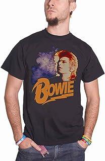 David Bowie デビッド・ボウイ Retro Bowie logo ziggy レトロ・ボウイ・ロゴ 公式 メンズ ブラック Tシャツ 全サイズ