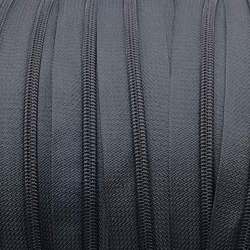 Endlos-Reißverschluss 5 mm dunkelgrau - 5 m Meterware mit 15 Zippern - Farbe 038