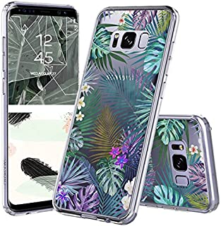 Galaxy S8 Case, Galaxy S8 Case for Women, MOSNOVO Tropical Palm Tree Leaves Clear Design Printed Transparent Plastic Back Case with TPU Bumper Protective Cover for Samsung Galaxy S8 (2017