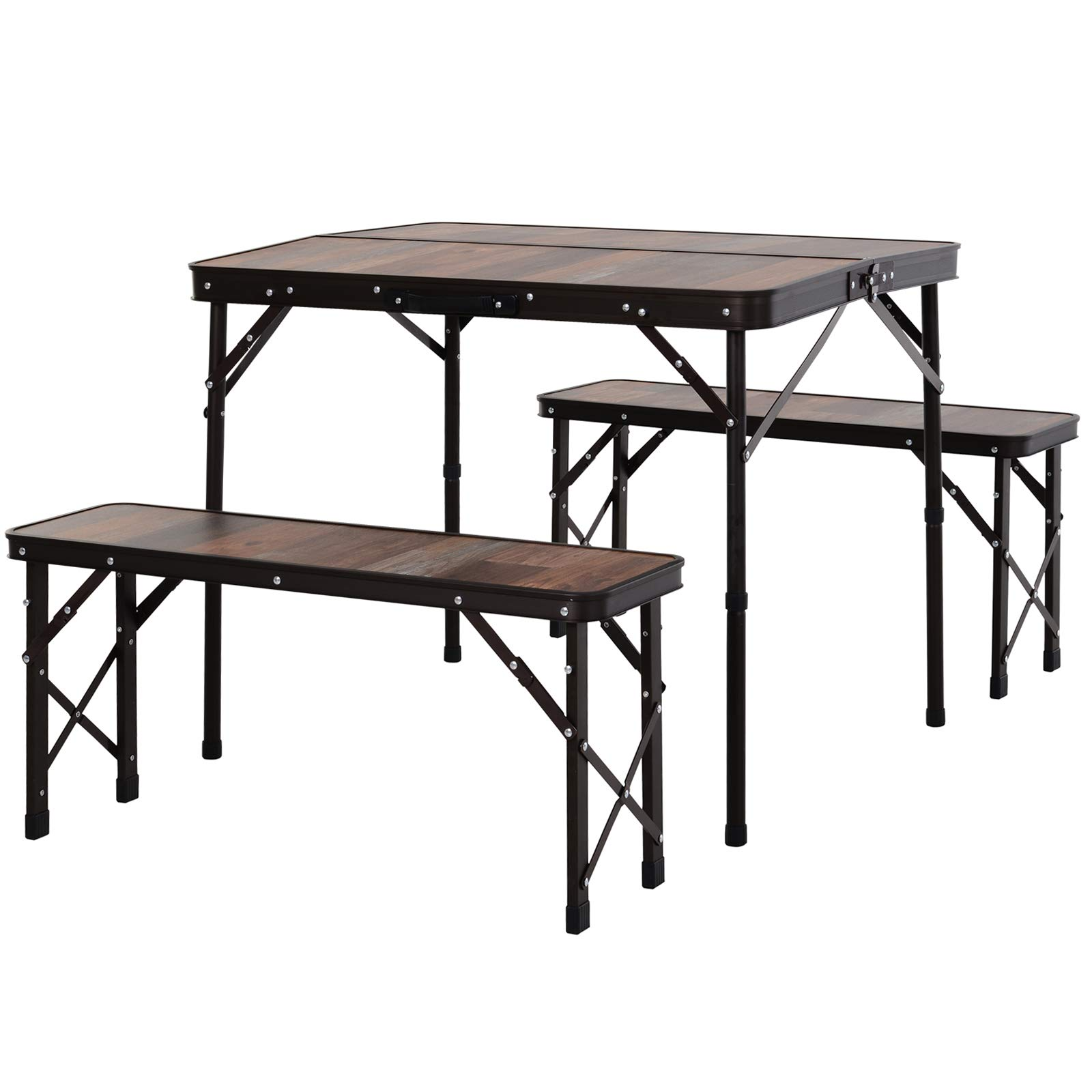 Outsunny Folding Table Chairs Picnic Portable Camping Dining Garden Patio Bbq Aluminium Wood Colour Buy Online In Dominica At Dominica Desertcart Com Productid 188886437