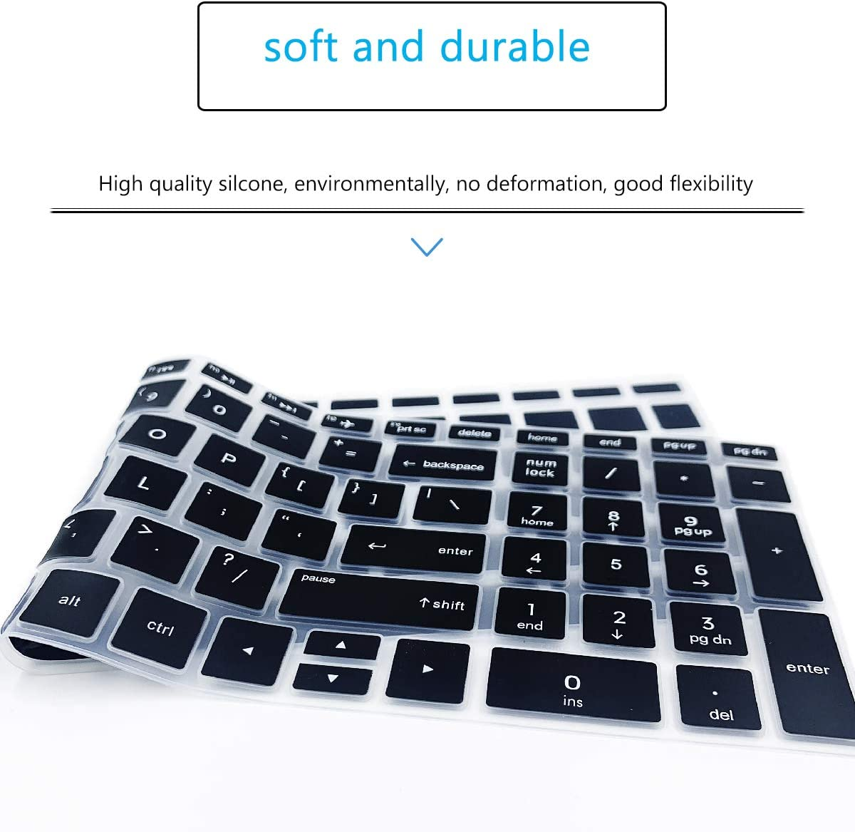 """Keyboard Cover for HP Laptop 17-by 17-bs 17-ca 17.3/"""" Model 17-by1053dx//by2053c//by3051cl//by3613dx 17-bs011dx//bs049dx //bs021ds//bs025cl//bs049dx//bs153cl HP Laptop 15-bs 15-da 15-dy 15-ef 15t 15z-Black"""