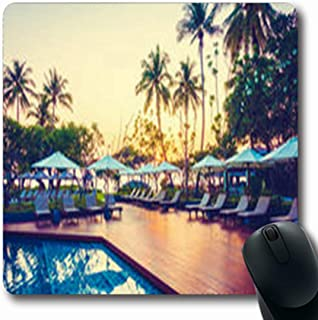 Pandarllin Mousepads Vintage Coconut Palm Tree Umbrella Carmen Chair Nature Hotel Parks Outdoor Climate Oblong Shape 7.9 x 9.5 Inches Oblong Gaming Mouse Pad Non-Slip Rubber Mat