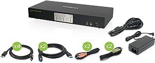 IOGEAR 2-Port 4K Dual View DisplayPort KVMP with USB 3.0 Hub and Audio w/Full Set of Cables (GCS1942 TAA Compliant)